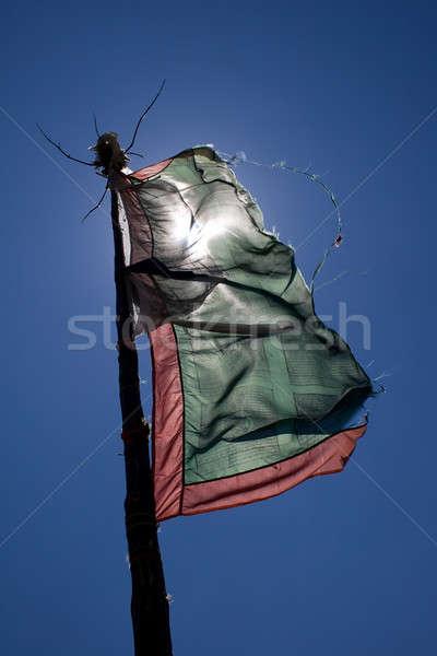 Oración bandera azul fondo culto viento Foto stock © All32