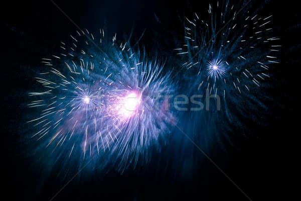 Fogos de artifício céu noturno belo feliz luz fumar Foto stock © All32
