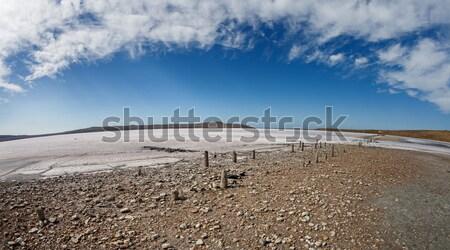 Drogen meer blauwe hemel wolken hemel landschap Stockfoto © All32