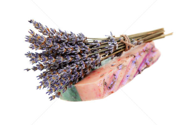 Handmade soaps, and sprigs of lavender Stock photo © All32