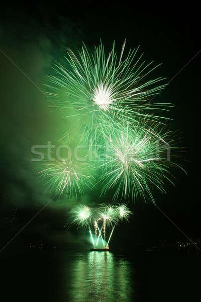 Feux d'artifice ciel de la nuit réflexion eau ciel fête Photo stock © All32