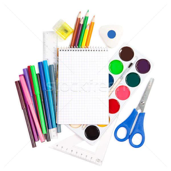 Iskola kellékek izolált fehér papír festék Stock fotó © All32
