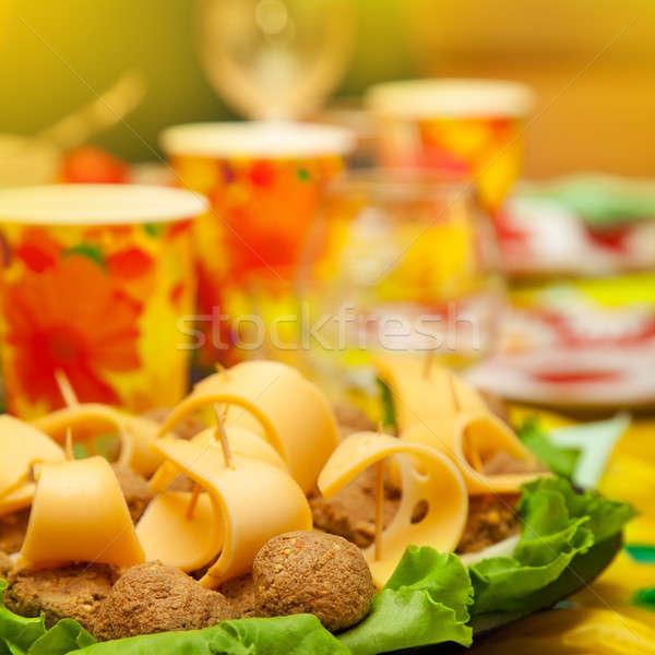 Kulinarny naczyń tabeli żywności strony Zdjęcia stock © All32