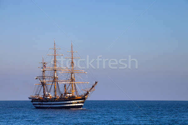 A beautiful three-masted sailboat in the sea Stock photo © All32