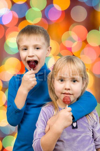 Photo stock: Enfants · manger · bonbons · coloré · lumières · manger