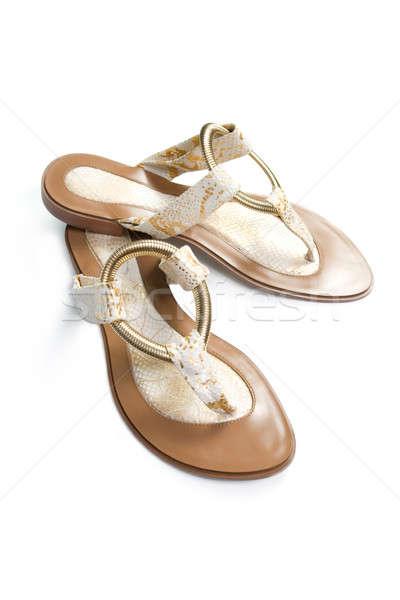Zomer sandalen geïsoleerd witte vrouwen winkelen Stockfoto © All32