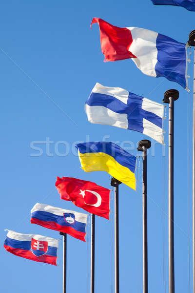 Vlaggen verschillend landen ontwikkelen reizen vlag Stockfoto © All32