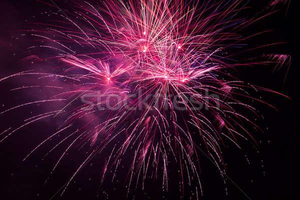 Rouge feux d'artifice ciel de la nuit belle ciel lumière Photo stock © All32