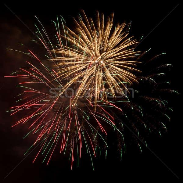Fogos de artifício céu noturno colorido vermelho céu luz Foto stock © All32
