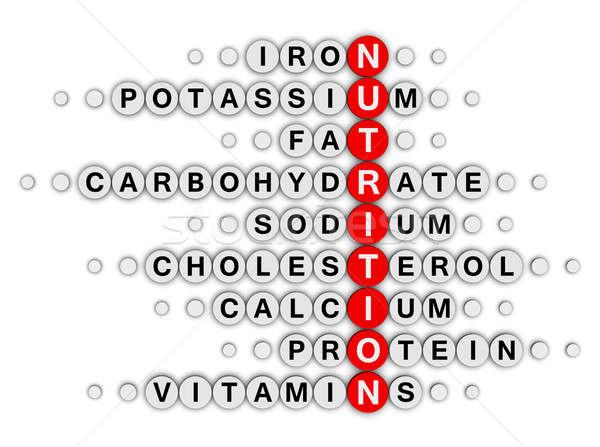 Voeding feiten kruiswoordraadsel puzzel voedsel fitness Stockfoto © almagami