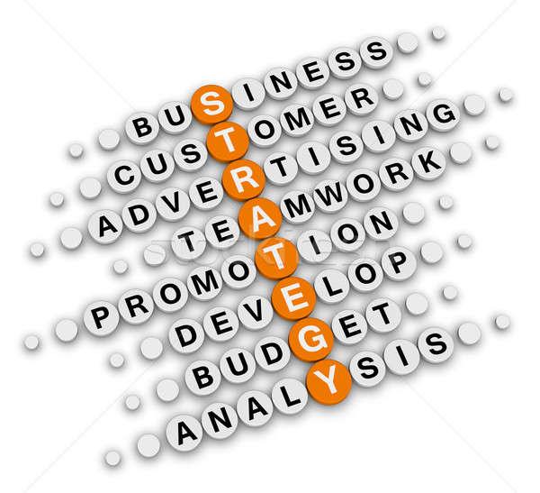 İş stratejisi bulmaca oturma bilmece iş turuncu Stok fotoğraf © almagami