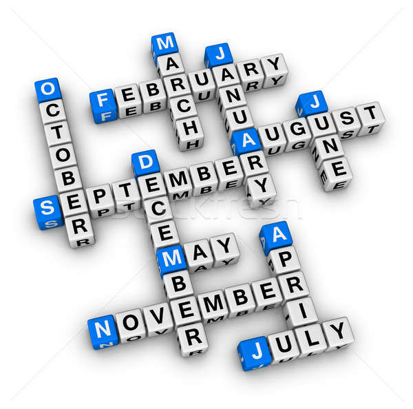 Meses año crucigrama rompecabezas cuadro azul Foto stock © almagami