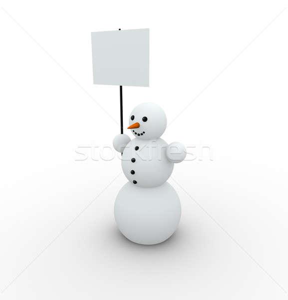 Kardan adam mutlu boş afiş kâğıt kar Stok fotoğraf © almagami