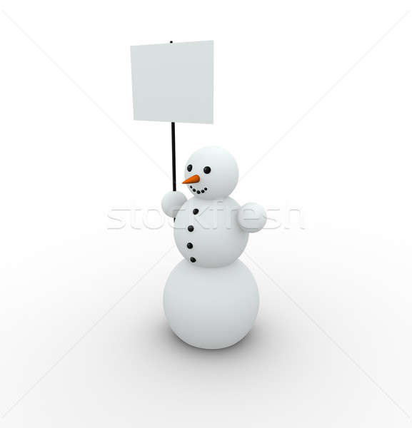 Pupazzo di neve felice vuota banner carta neve Foto d'archivio © almagami