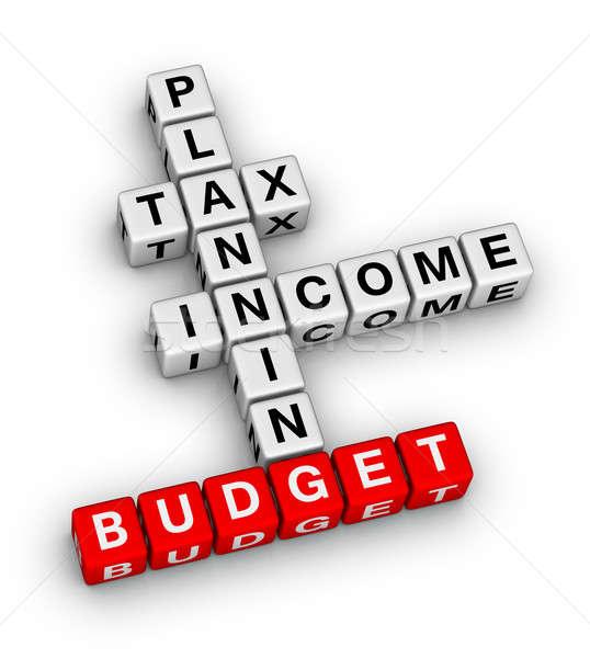 Orçamento planejamento palavras cruzadas quebra-cabeça caixa Foto stock © almagami