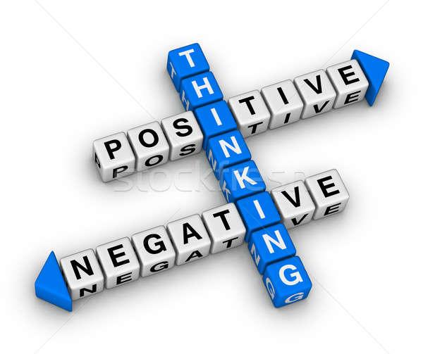 Pozytywny negatywne myślenia krzyżówka puzzle działalności Zdjęcia stock © almagami