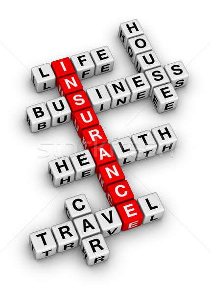 Stockfoto: Verzekering · kruiswoordraadsel · puzzel · business · familie