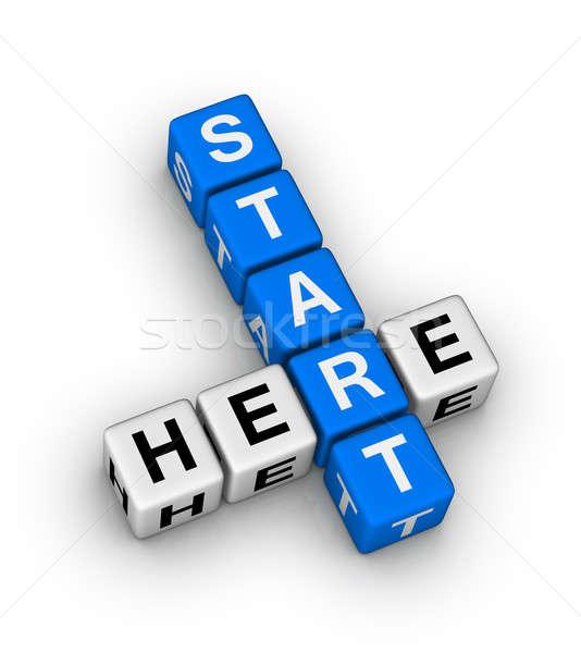 Stok fotoğraf: Başlatmak · burada · ikon · alışveriş · mavi · yardım