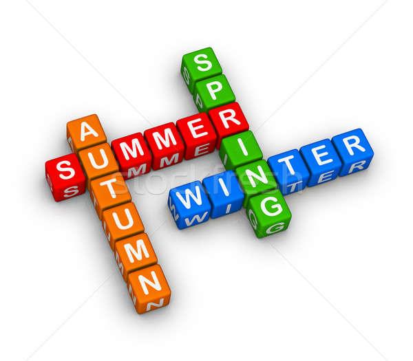 Négy évszak keresztrejtvény puzzle nyár oktatás felirat Stock fotó © almagami