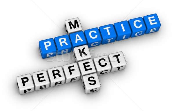 Stock fotó: Gyakorlat · tökéletes · keresztrejtvény · puzzle · doboz · kék