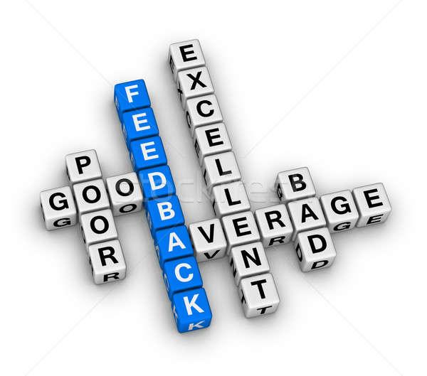 ストックフォト: フィードバック · フォーム · クロスワード · キューブ · パズル · ボックス