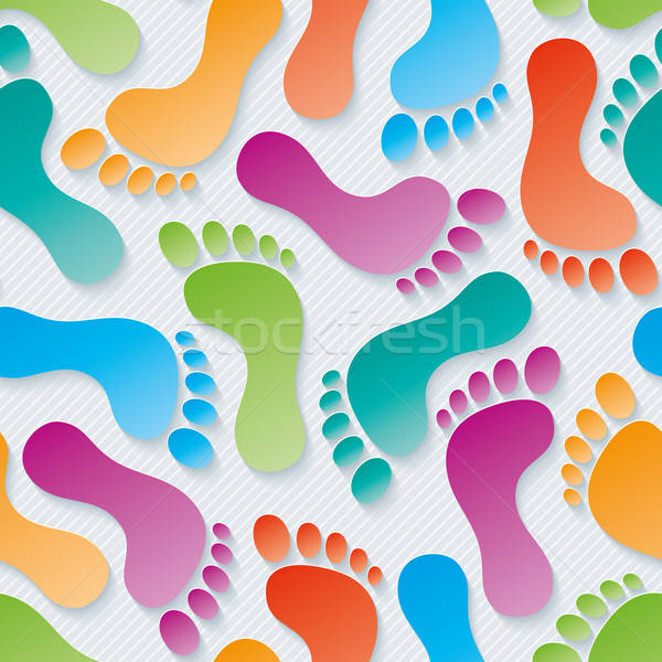 Multicolor Footprints 3d seamless wallpaper. Stock photo © almagami