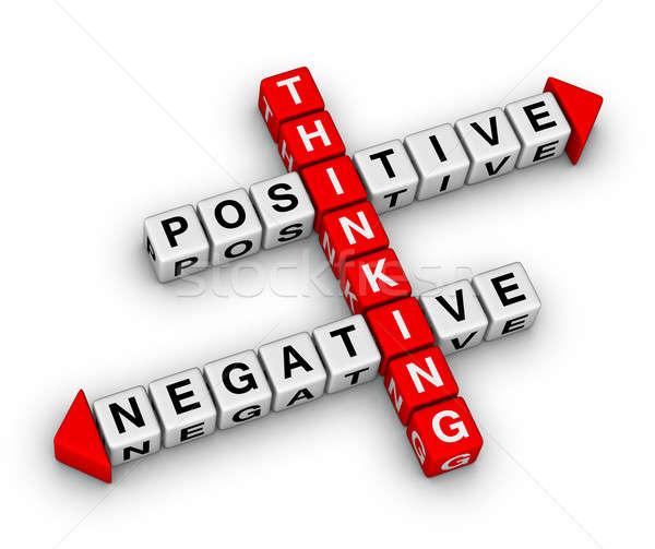 Positief negatieve denken kruiswoordraadsel puzzel business Stockfoto © almagami