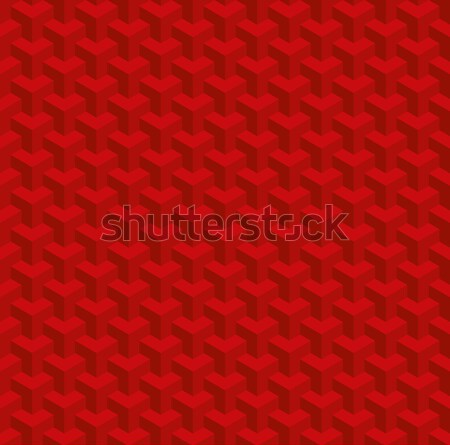 Christmas Red Isometric Seamless Pattern. 3D Optical Illusion Ba Stock photo © almagami