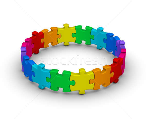 circle of colorful jigsaw puzzles Stock photo © almagami