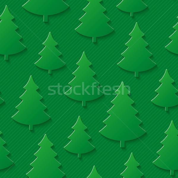 Stock photo: Christmas tree seamless pattern.