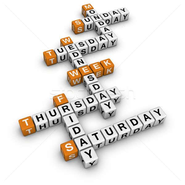 3D mots croisés orange école boîte calendrier Photo stock © almagami