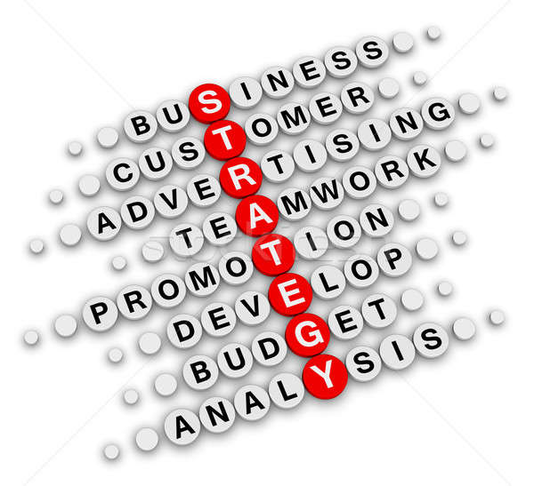 İş stratejisi bulmaca oturma bilmece iş kırmızı Stok fotoğraf © almagami