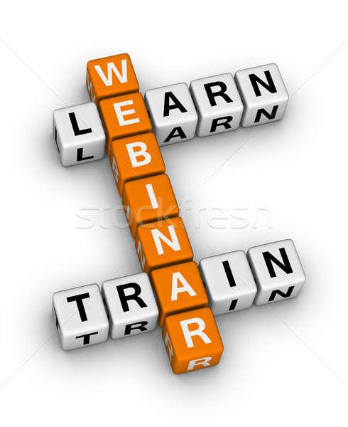 Webinar vonat tanul keresztrejtvény puzzle doboz Stock fotó © almagami