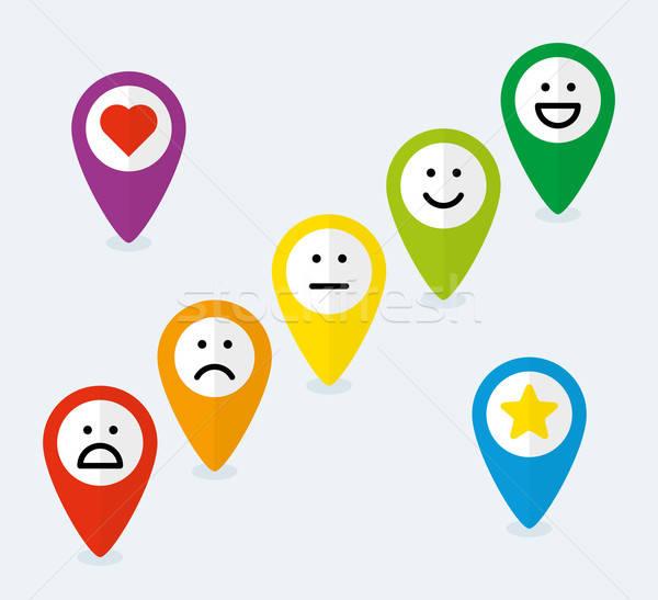 Szett térkép emotikonok visszajelzés szív felirat Stock fotó © almagami