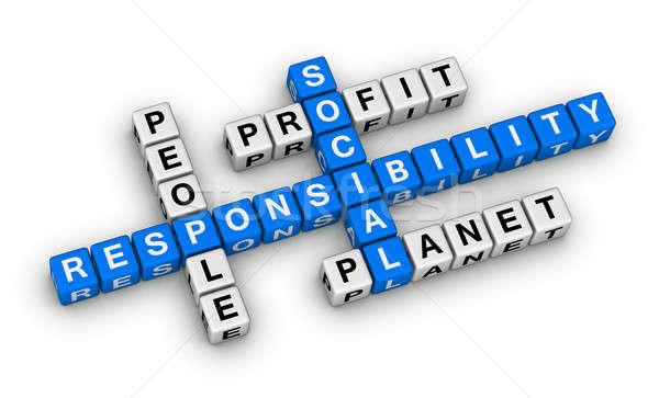 Sociale verantwoordelijkheid kruiswoordraadsel puzzel business onderwijs Stockfoto © almagami