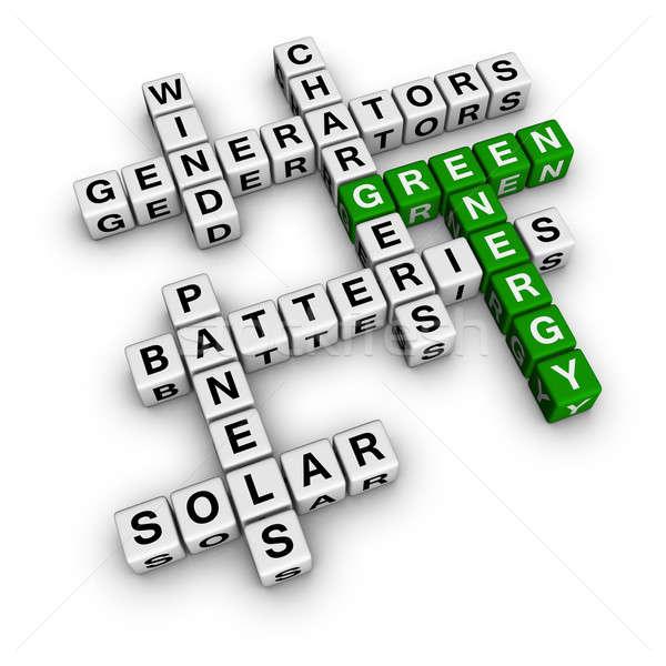 Alternatief groene energie 3D kruiswoordraadsel technologie Stockfoto © almagami