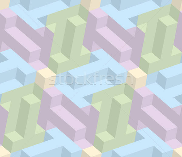 Isometric seamless pattern. 3D optical illusion background. Stock photo © almagami