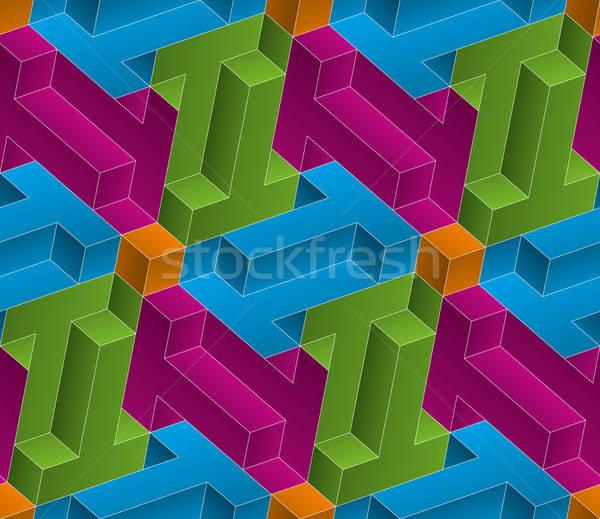 Isometric seamless pattern. 3D optical illusion background. Stock photo © almagami