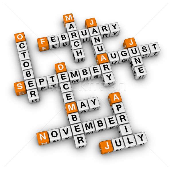 Hónapok év keresztrejtvény doboz levél napló Stock fotó © almagami