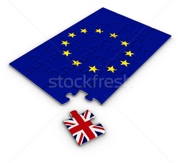 Jigsaw puzzle with the national flag of Great Britain and Europe Stock photo © almagami
