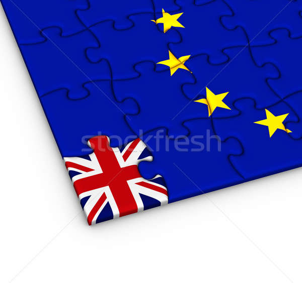 Stock photo: Jigsaw puzzle with the national flag of Great Britain and Europe