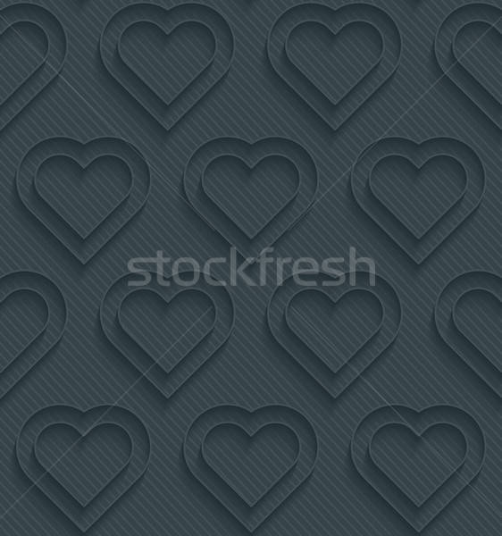 Stock photo: Dark perforated paper with outline extrude effect.