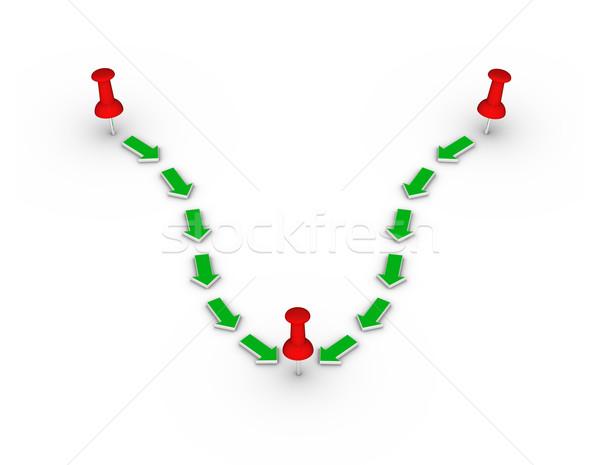 red thumbtacks and green arrows Stock photo © almagami