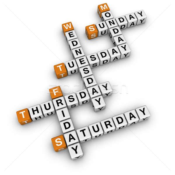 Photo stock: Mots · croisés · 3D · orange · école · boîte · calendrier