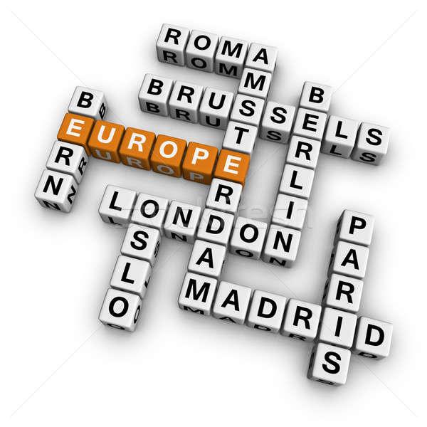 Kruiswoordraadsel Europa 3D oranje stad reizen Stockfoto © almagami