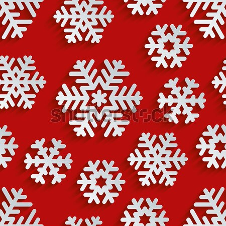 Traditional Christmas Seamless Pattern with Isometric 3D Snowfla Stock photo © almagami