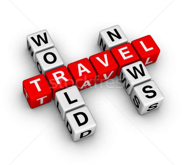 Világutazás hírek terv felirat utazás fehér Stock fotó © almagami