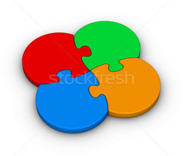 four multicolor puzzles Stock photo © almagami