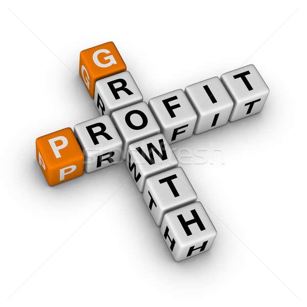 ストックフォト: 成長 · 利益 · 3D · クロスワード · オレンジ · 金融