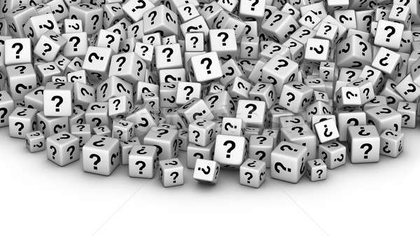 A heap of white cubes with question mark symbol. Stock photo © almagami